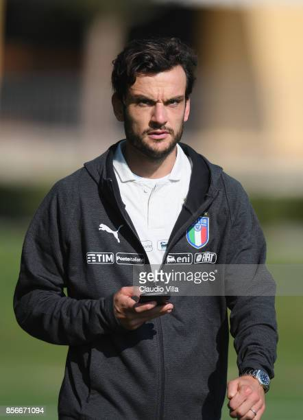 Marco Parolo of Italy looks on during a training session at Italy club's training ground at Coverciano on October 2 2017 in Florence Italy