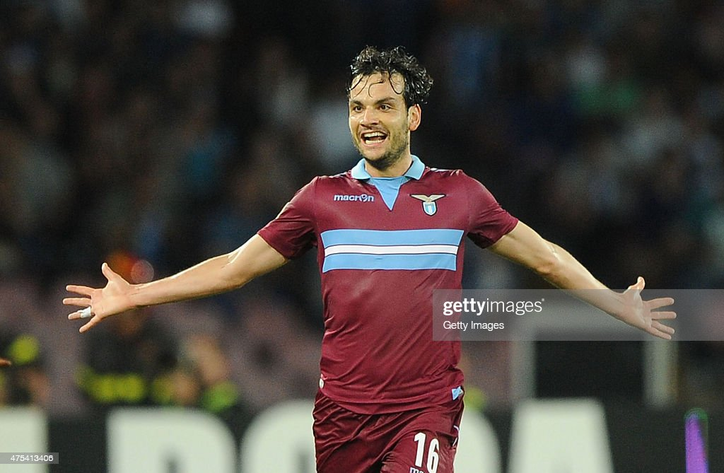 Marco Parolo of Lazio celebrates after scoring goal 1-0 during the Serie A match between SSC Napoli and SS Lazio at Stadio San Paolo on May 31, 2015 in Naples, Italy.