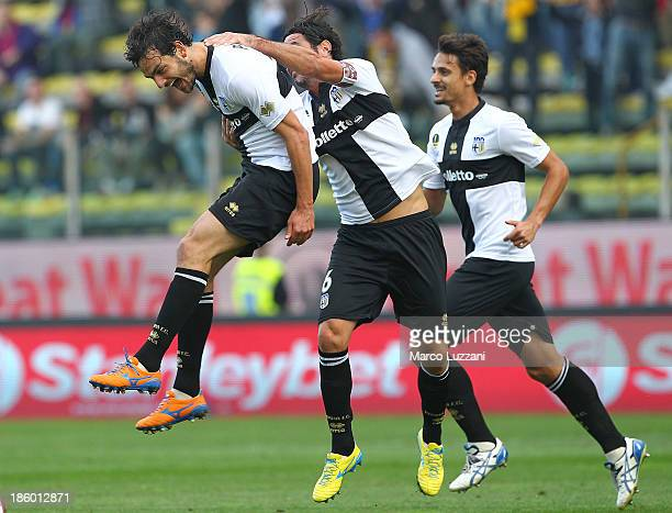 Marco Parolo of Parma FC celebrates with his team-mates Alessandro Lucarelli after scoring the opening goal during the Serie A match between Parma FC...