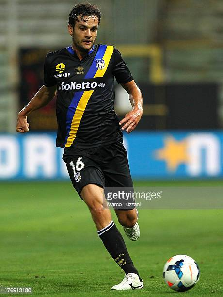 Marco Parolo of Parma FC in action during the TIM Cup match between Parma FC and US Lecce at Stadio Ennio Tardini on August 17 2013 in Parma Italy