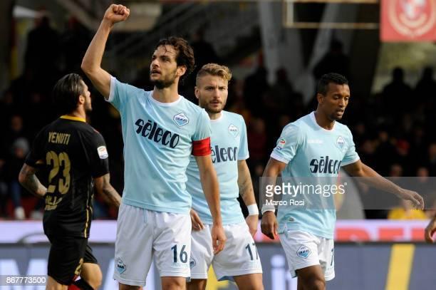 Marco Parolo of SS Lazio celebrates a fourth goal during the Serie A match between Benevento Calcio and SS Lazio at Stadio Ciro Vigorito on October...