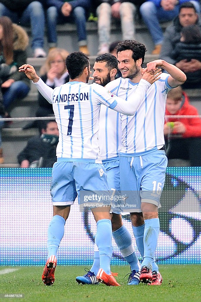 Marco Parolo # 16 of SS Lazio celebrates after scoring his team's third goal during the Serie A match between US Sassuolo Calcio and SS Lazio on March 1, 2015 in Reggio nell'Emilia, Italy.