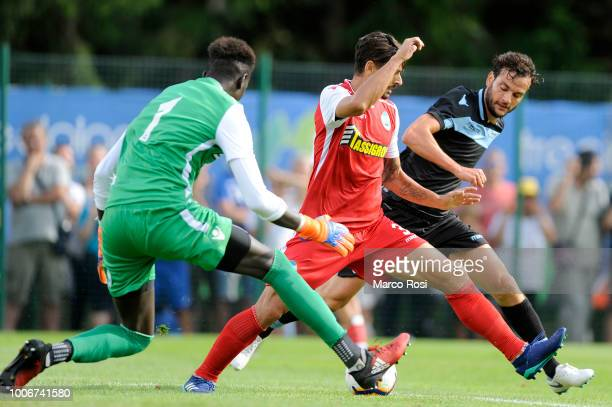 Marco Parolo of SS Lazio compete for the ball with Felipe of Spal during the preseason friendly match between SS Lazio and Spal on July 28 2018 in...