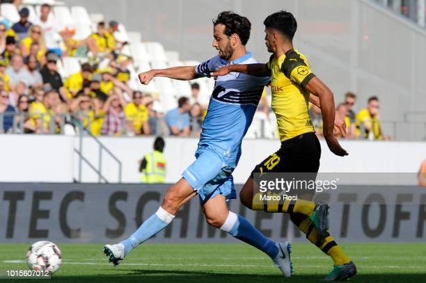 Marco Parolo of SS Lazio in actin during the Borussia Dortmund v Lazio PreSeason Friendly at the Essen Stadium on August 12 2018 in Essen Germany