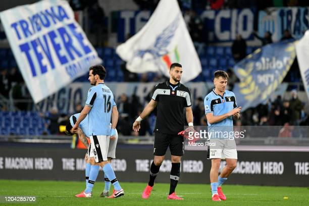 Marco Parolo Thomas Strakosha and Patricio Gil Gabarron of SS Lazio react after the Serie A match between SS Lazio and Hellas Verona at Stadio...