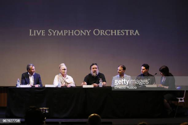 Marco Patrignani Lisa Gerrard Russell Crowe Justin Freer and Brady Beaubein attend the 'Il Gladiatore In Concerto' presentation on June 5 2018 in...