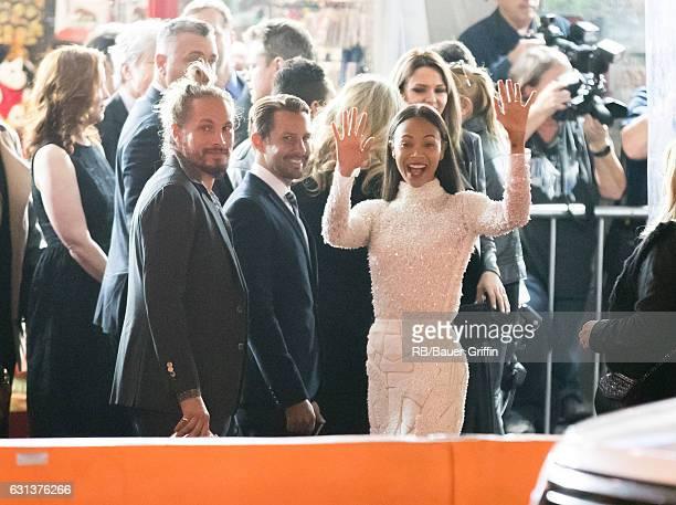 Marco Perego and Zoe Saldana are seen on January 09, 2017 in Los Angeles, California.