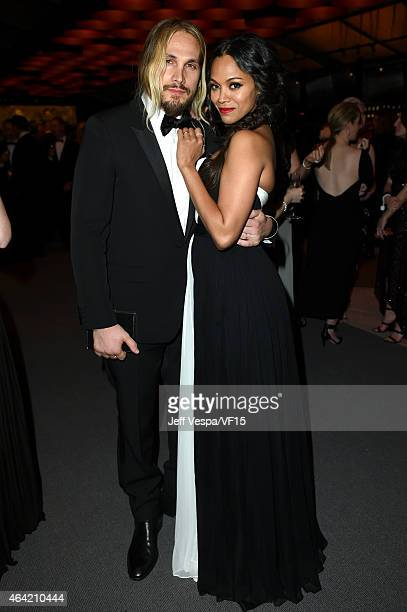 Marco Perego and Zoe Saldana attend the 2015 Vanity Fair Oscar Party hosted by Graydon Carter at the Wallis Annenberg Center for the Performing Arts...
