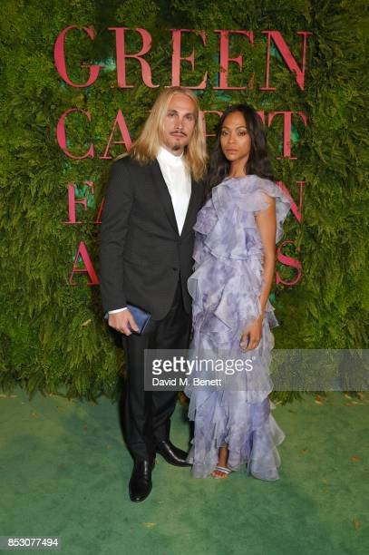 Marco Perego and Zoe Saldana attend the Green Carpet Fashion Awards Italia wearing Giorgio Armani for the Green Carpet Challenge at Teatro Alla Scala...