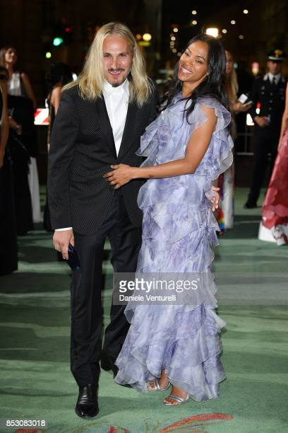 Marco Perego and Zoe Saldana attend the Green Carpet Fashion Awards Italia 2017 during Milan Fashion Week Spring/Summer 2018 on September 24 2017 in...