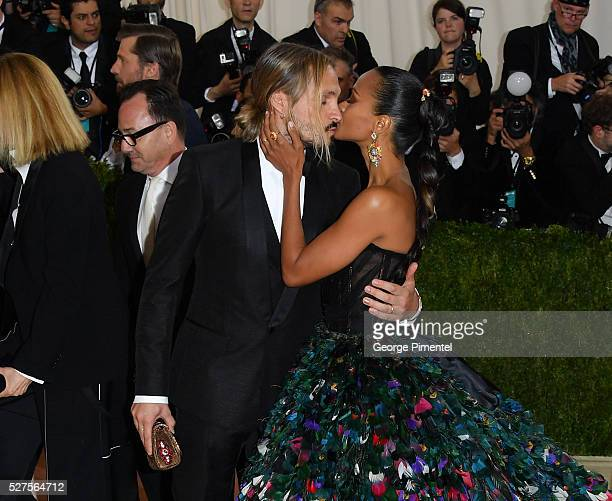 Marco Perego and Zoe Saldana attend the 'Manus x Machina Fashion in an Age of Technology' Costume Institute Gala at the Metropolitan Museum of Art on...