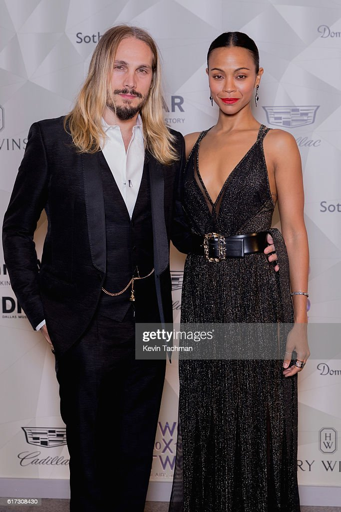 Marco Perego and Zoe Saldana attend TWO x TWO For AIDS and Art 2016 on October 22, 2016 in Dallas, Texas.