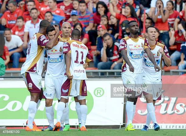 Marco Perez of Deportes Tolima celebrates after scoring the first goal of his team during a semifinal match between Medellin and Deportes Tolima as...