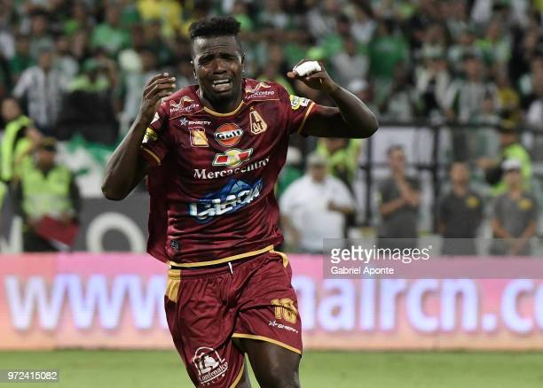 Marco Perez of Tolima celebrates after scoring in the penalty shootout during the second leg match between Atletico Nacional and Deportes Tolima as...