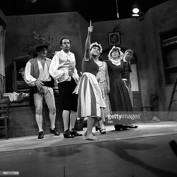 Marco Perrin Jacques Balutin Arlette Gilbert Jacqueline Rouillard Annick Alane and Jean Michel Mole in The Hussars play staged by Jacques Fabbri and...