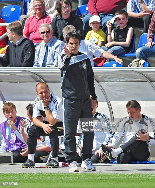 Marco Pezzaiuoli, head coach of Germany gestures during the Uefa U17 European Championship Final between Netherlands and Germany at the Magdeburg...