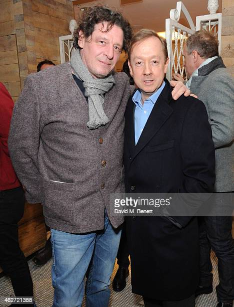 Marco Pierre White and Geordie Greig attends the launch of A Collection Of Contemporary British Love Poetry at Fortnum Mason on February 3 2015 in...