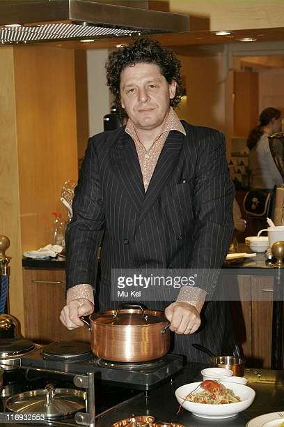 Marco Pierre White during Marco Pierre White Launches 'The White Heat Cookery Collection' at Harrods April 8 2006 at Harrods in London Great Britain