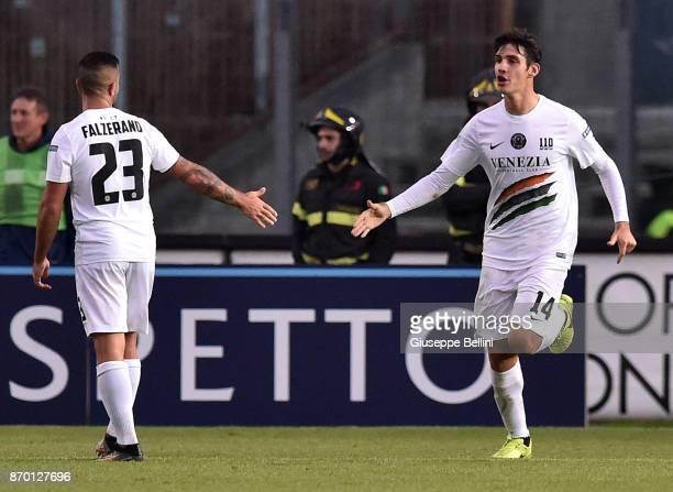 Marco Pinato of Brescia Calcio celebrates after scoring the goal 11 during the Serie B match between Brescia Calcio and Venezia FC at Stadio Mario...