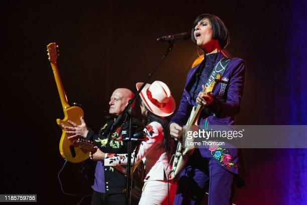Marco Pirroni Siobhan Fahey and Marcella Detroit of Shakespears Sister perform at Palladium Theatre on November 05 2019 in London England