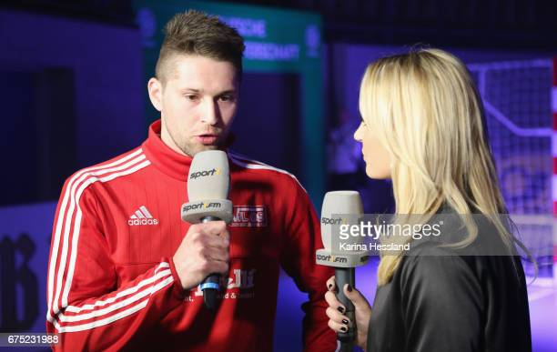 Marco Pohl of HohensteinErnstthal in interview with Nele Schenker during the Deutsche Futsal Meisterschaft between VFL 05 HohensteinErnstthal and SSV...