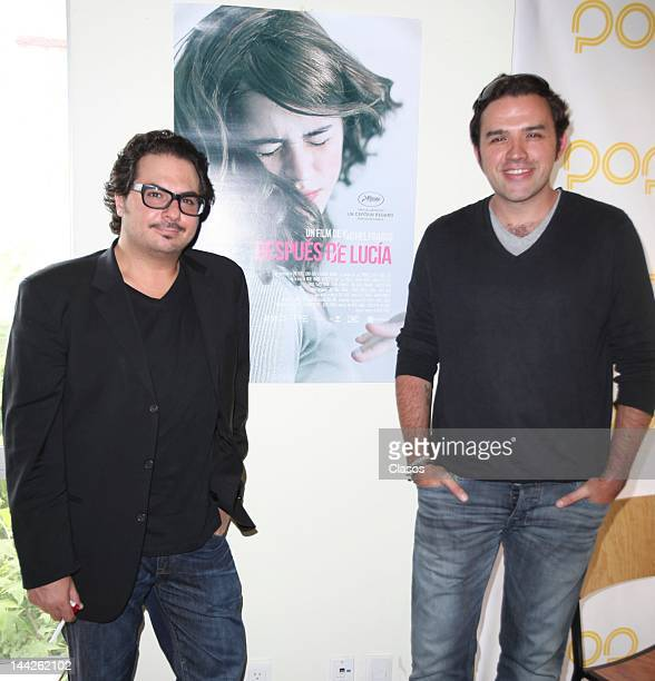 Marco Polo and Fernando Rovzar Constanse during the press conference of the movie After Lucia on May 11 2012 in Mexico City Mexico
