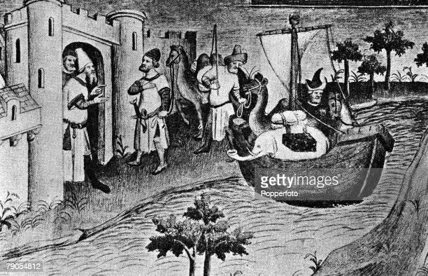 Marco Polo Italy Venetian merchant traveller explorer and writer Picture depicts his father and uncle landing at Ormuz at the mouth of the Persian...