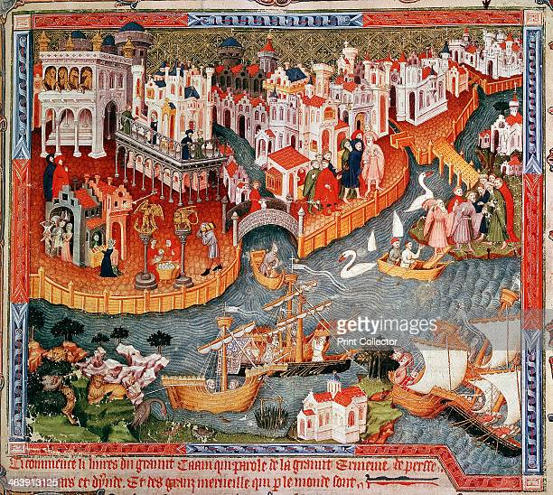 Marco Polo sailing from Venice in 1271 Together with his father and uncle Venetian traveller and merchant Marco Polo set off from Venice travelled...