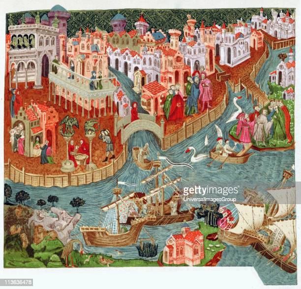 Marco Polo setting out with his uncles from Venice for Far East In foreground are lands they will visit and strange things they will see After late...