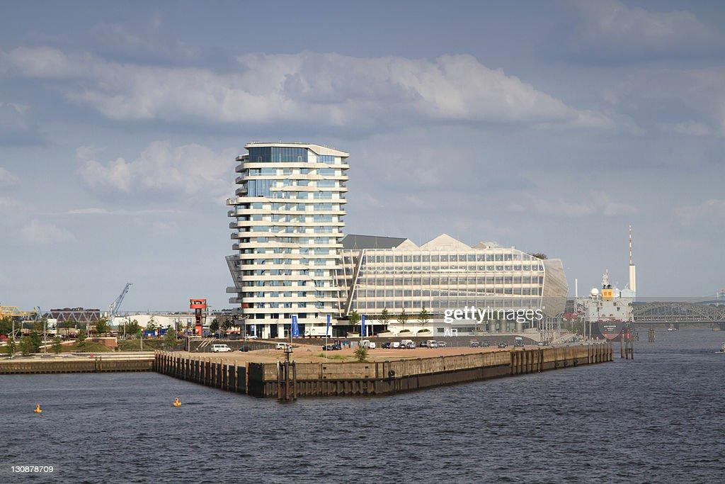 Hamburg Marco Polo Tower marco polo tower and cruise terminal hamburg germany europe stock