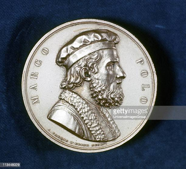 Marco Polo Venetian traveller and merchant Portrait from obverse of commemorative medal