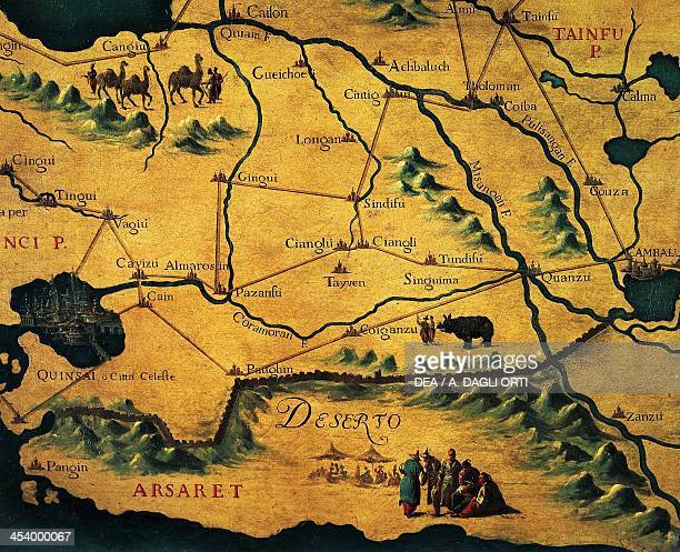 Marco Polo's route across the eastern Deserts Maps by Giovan Battista Ramusio and Francesco Grisellini 16th18th century Venice Palazzo Ducale