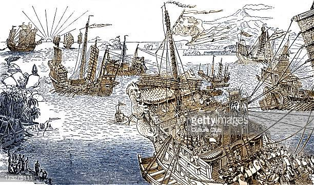 Marco Polo's ship Engraving from 'The Book of Ser Marco Polo' c 1299 MP Italian merchant and explorer 1254 8 January 1324