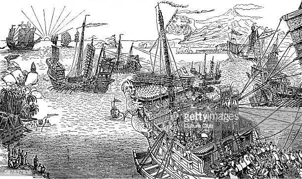 Marco Polos ship Engraving from The Book of Ser Marco Polo c 1299 MP Italian merchant and explorer 1254 8 January 1324