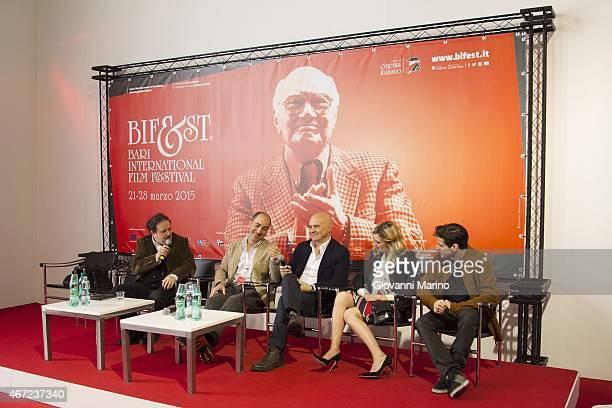 Marco Pontecorvo Luca Zingaretti Carolina Crescentini and Andrea Arcangeli attend the 'Tempo Instabile Con Probabili Schiarite' Film Press Conference...