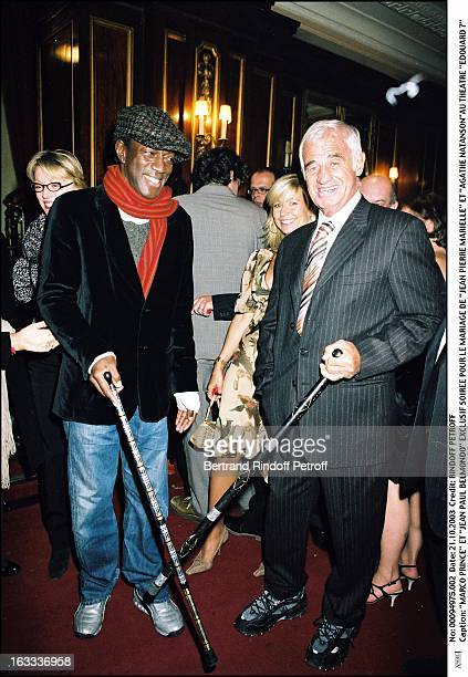 Marco Prince and Jean Paul Belmondo party for the wedding of Jean Pierre Marielle and Agathe Natanson at the theater Edouard VII