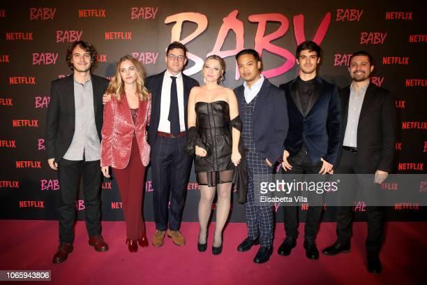 Marco Raspanti Eleonora Trucchi Giacomo Durzi Isabella Aguilar Re Salvador Giacomo Mazzariol and Antonio Le Fosse attend the Netflix's 'Baby' World...