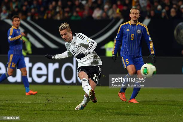 Marco Reis of Germany scores the 4th team goal during the FIFA 2014 World Cup qualifier group C match between Germany and Kazakhstan at GundigStadion...