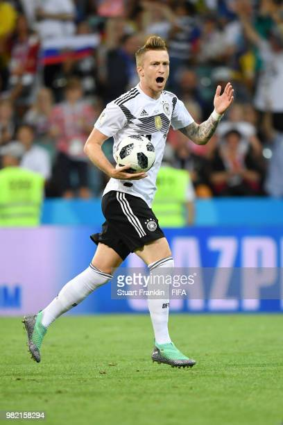 Marco Reus after scoring his sides opening goal to make the score 11 during the 2018 FIFA World Cup Russia group F match between Germany and Sweden...