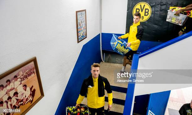 Marco Reus and Julian Weigl of Borussia Dortmund on his way to the training session as part of the training camp at the Estadio Municipal de Marbella...
