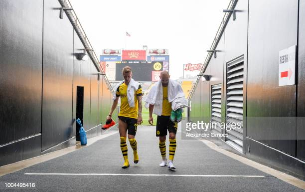 Marco Reus and Oemer Toprak of Borussia Dortmund after a training session at the Heinz Field stadium during Borussia Dortmund US Tour 2018 on July 23...
