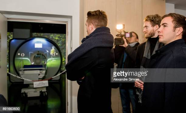 Marco Reus Andre Schuerrle Mario Goetze of Borussia Dortmund are seen during the annual visit of Borussia Dortmund and the magnetic resonance...