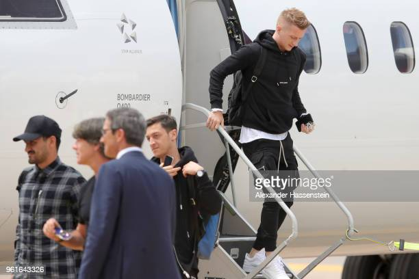 Marco Reus arrives with the German National team at Bolzano Airport for the Southern Tyrol Training Camp ahead of the FIFA World Cup Russia 2018 on...