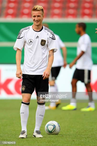 Marco Reus attends a training session of the German National football team at MercedesBenz Arena on August 9 2011 in Stuttgart Germany Germany will...