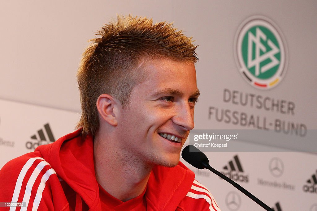 Marco Reus attends during a press conference of the German National football team at Mercedes-Benz Museum on August 8, 2011 in Stuttgart, Germany. Germany will play a friendly match against Brazil at Mercedes-Benz Arena on August 10, 2011 in Stuttgart, Germany.