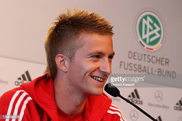 Marco Reus attends during a press conference of the German National football team at MercedesBenz Museum on August 8 2011 in Stuttgart Germany...