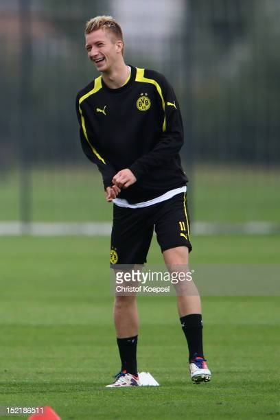 Marco Reus attends the training session of Borussia Dortmund at Brackel training ground. The UEFA Champions League group D match between Borussia...