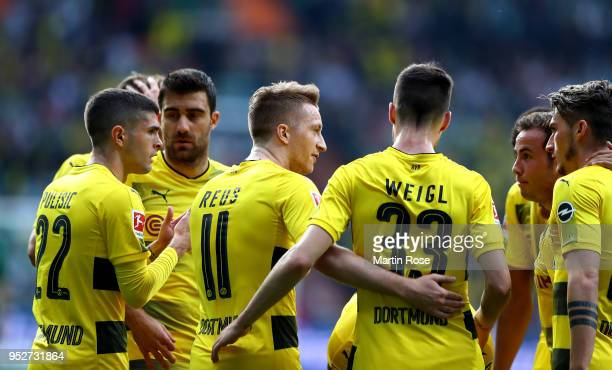 Marco Reus Dortmund celebrates after he scores the opening goal during the Bundesliga match between SV Werder Bremen and Borussia Dortmund at...