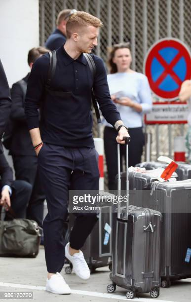 Marco Reus leaves after the return of the German national football team from the FIFA World Cup Russia 2018 at Frankfurt International Airport on...