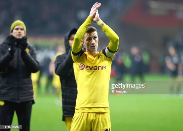 Marco Reus of Borussia Dortmund acknowleges the fans after the Bundesliga match between Eintracht Frankfurt and Borussia Dortmund at CommerzbankArena...